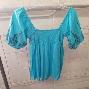 Xhilaration Small Turquoise Embroidered Summer Top